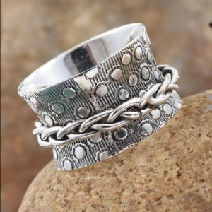 NWT Sterling Silver Braided Spinner Ring! Pretty!!